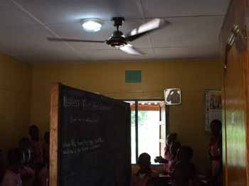 The classrooms now sport new fans and lights.