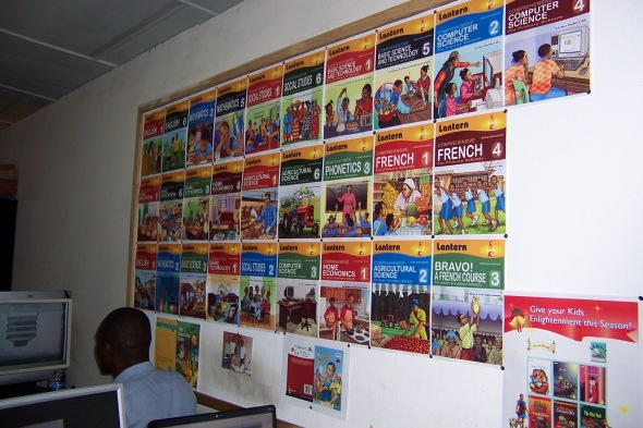 Textbook covers on display at the factory.