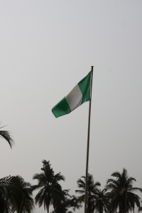 A new Nigerian flag waves in the breeze at Ishahayi.