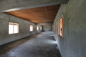 The spacious new school building, viewed from the inside.