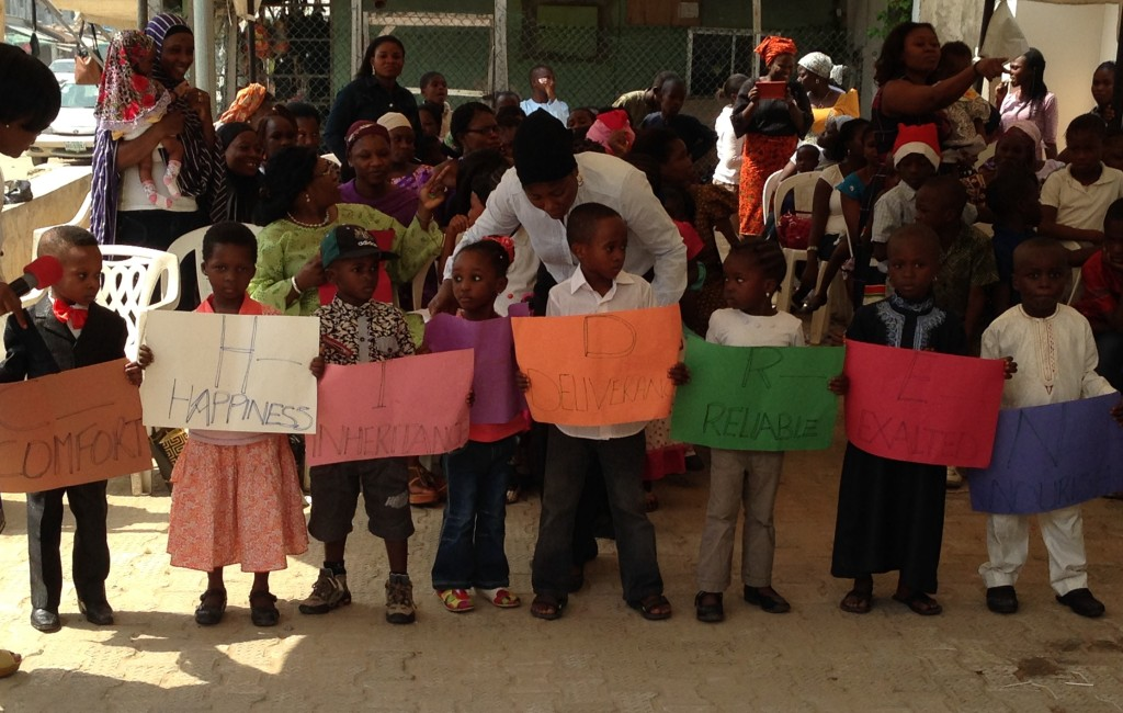 Young students show what children stand for during the Ife Oluwa Christmas Pageant.